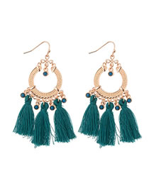 Fashion Dark Green Beads Decorated Tassel Earrings