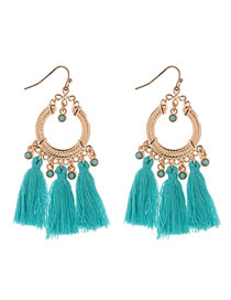 Fashion Pale Blue Beads Decorated Tassel Earrings