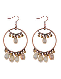 Fashion Beige Beads Decorated Circular Ring Earrings