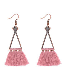 Vinatge Pink Tassel Decorated Triangle Shape Earrings