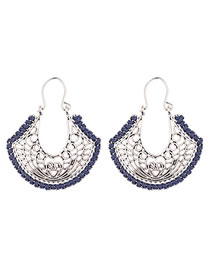 Vinatge Navy Geometric Shape Design Hollow Out Earrings