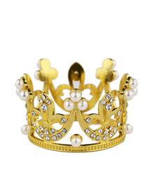 Fashion Gold Color Pearls Decorated Crown Shape Hair Accessory