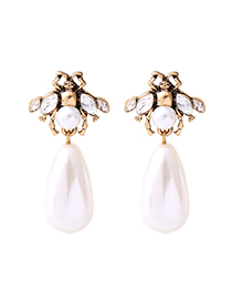 Vintage Gold Color Pearl&diamond Decorated Bee Shape Earrings