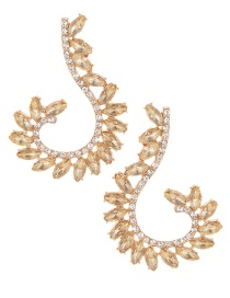 Elegant Champagne Oval Shape Diamond Decorated Pure Color Earrings