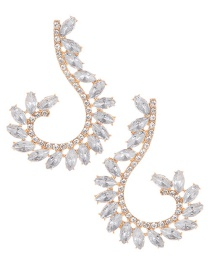 Elegant White Oval Shape Diamond Decorated Pure Color Earrings