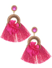 Elegant Plum Red Flower Decorated Tassel Earrings