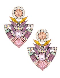 Elegant Pink Geometric Shape Diamond Design Earrings