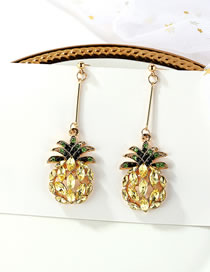 Elegant Yellow+green Pineapple Pendant Decorated Long Earrings