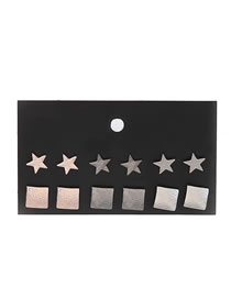 Elegant Multi-color Star Shape Design Color Matching Earrings(12pcs)