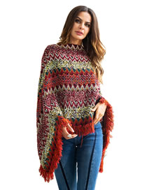 Fashion Multi-color Tassel Decorated Color Matching Sweater