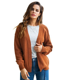 Fashion Brown Pure Color Design Loose Knitted Cardigan