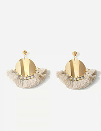 Fashion Gold Color Round Shape Design Tassel Earrings