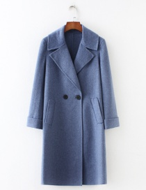 Fashion Blue Buttons Decorated Pure Color Long Overcoat