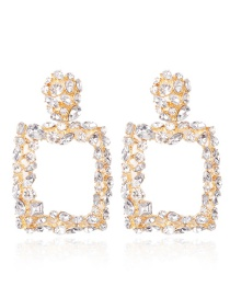 Fashion White Full Diamond Design Square Shape Earrings