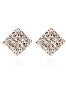 Fashion Gold Color Full Diamond Design Square Shape Earrings