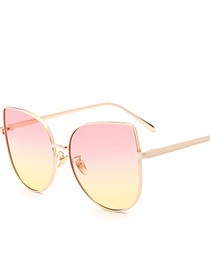 Trendy Pink+yellow Gradient-color Design Simple Sunglasses