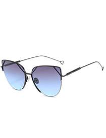 Trendy Gray+blue Thin Legs Design Round Shape Sunglasses