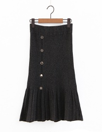 Elegant Dark Gray Pure Color Decorated Knitted Skirt