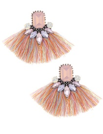 Elegant Multi-color Diamond Decorated Tassel Earrings