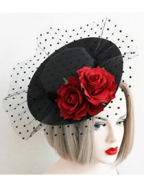 Fashion Red+black Dots Pattern Decorated Flower Shape Hair Accessories