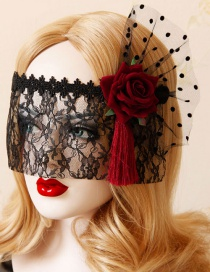 Fashion Red+black Dots Pattern Decorated Flower Shape Mask