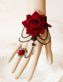 Fashion Claret Red Flower Shape Decorated Bracelet
