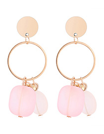 Sweet Pink Round Shape Decorated Earrings