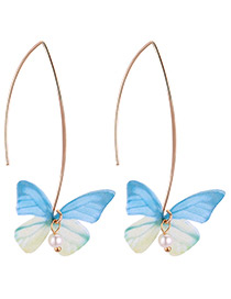 Fashion Blue Butterfly Shape Design Earrings