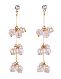 Fashion White Bead Decorated Earrings Reviews