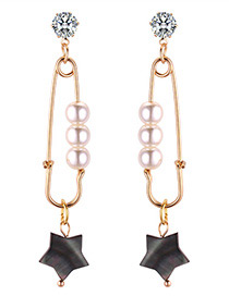 Fashion Black Star Shape Decorated Earrings Reviews