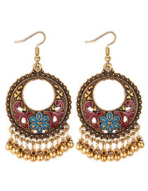 Vintage Red Round Shape Decorated Earrings