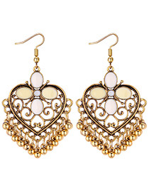 Vintage Beige Heart Shape Decorated Earrings