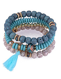Fashion Blue Tassel&beads Decorated Multi-layer Bracelet