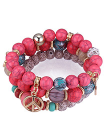 Vintage Red Palm&beads Decorated Multi-layer Bracelet