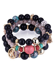 Vintage Black Palm&beads Decorated Multi-layer Bracelet