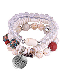 Personality White Round Shape Pendant Design Multi-layer Bracelet
