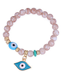 Personality White Eye Shape Pendant Decorated Beads Bracelet