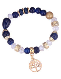 Fashion Blue Hollow Out Tree Pendant Decorated Bracelet
