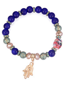 Fashion Blue Palm Pendant Decorated Beads Bracelet