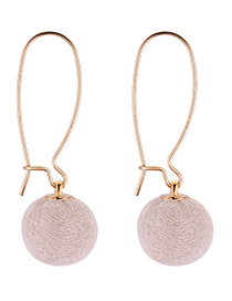 Fashion White Pom Ball Decorated Earrings
