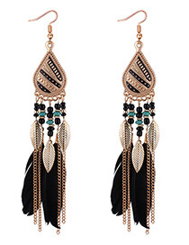 Fashion Black Leaf Decorated Earrings