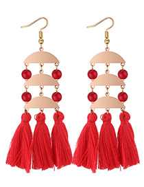 Exaggerated Red Sector Shape Design Long Tassel Earrings