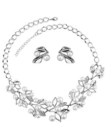 Elegant Silver Color Leaf&pearls Decorated Jewelry Sets