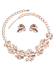 Elegant Gold Color Leaf&pearls Decorated Jewelry Sets