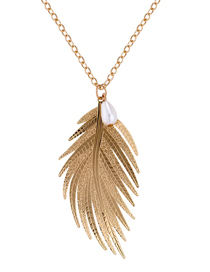 Fashion Gold Color Feather Shape Design Necklace