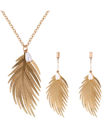 Fashion Gold Color Feather Shape Deisgn Jewelry Sets