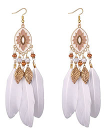 Fashion White Feather Shape Decorated Earrings