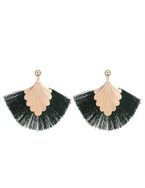 Fashion Green Shell Shape Decorated Tassel Earrings