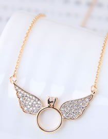 Fashion Gold Color Wing Shape Decorated Necklace