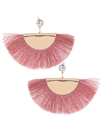 Fashion Pink Sector Shape Decorated Tassel Earrings